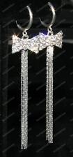 COMFY CLIP ON rhinestone CRYSTAL bow SLINKY EARRINGS liquid silver plated long