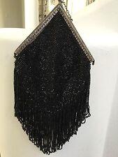 Antique Victorian Art Deco Jet Black Bead Fringe Purse Beautiful