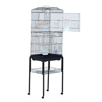 "63"" Large Rolling Bird Cage Parrot Cockatiel Play House Perch Swing Black"
