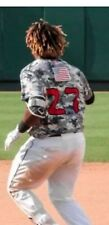 VLADIMIR GUERRERO JR  AUTOGRAPHED GAME USED JERSEY. 2017 MILITARY DAY LUGNUTS