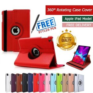 Leather Case Cover For I pad 2/3/4 mini Air1/2  360 Degree Rotating Smart Stand.