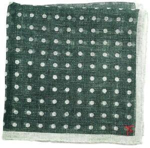 Isaia Pocket Square Green Polka Dot 06PS0148 $140
