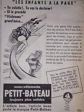 PUBLICITÉ 1956 LES SOUS-VÊTEMENTS PETIT-BATEAU ENFANTS A LA PAGE - ADVERTISING