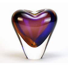 "VASES - MURANO GLASS HEART VASE - 7""H - TOPAZ / AMETHYST - ITALIAN ART GLASS"