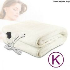 NEW 190W King Bed Size Luxurious Fully Fitted Polyester Electric Blanket - White