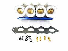 OBX Individual Throttle Body ITB FIT 1992-2001 Prelude H22 VTEC Blue Fuel Rail