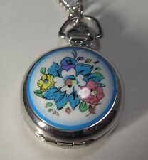 Necklace Flower Women Pendant Quartz Watch with Mirror XMAS GIFT 1""