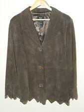 Women's Genuine Suede Leather Jacket Sz M Chocolate Brown Eyelet Lace BOHO Basso