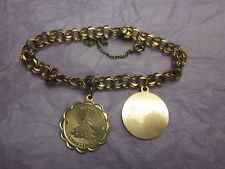 Gold Filled 2 Charm Link Bracelet Vintage Antique Artisan Handcrafted 12K Yellow
