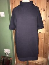 French Connection Ribbed Jersey Turtle Neck Oversized Tunic Dress 14 BNWT Navy