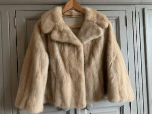 Vintage Beige Blonde Cream Short Fur Minx Jacket Coat