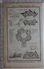1788 ORIGINAL PRINT FORTIFICATION VAUBAN'S METHOD COUNT PAGANS PLAN BLONDELS