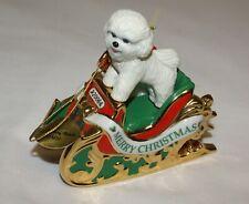 Christmas Ornament Danbury Mint Bichon Frise Puppy Dog Santas Helper 1st Ed 2006
