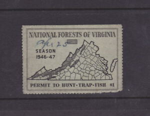 State Hunting/Fishing Revenues - VA - 1946 National Forest Stamp ($1) - Used