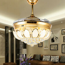 Modern Gold LED Crystal Invisible Ceiling Fan Light Home Fan Chandelier Lamp