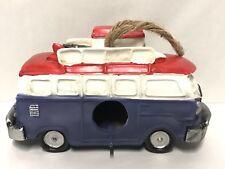 VW Bus Van Birdhouse Blue Red Surfboard Vanogan Beach Garden Decor Figure