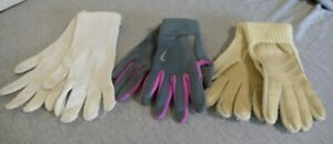 Lot of 3 Pairs of Womans White, Cream & Grey Knitted, Nylon Winter Gloves Size M