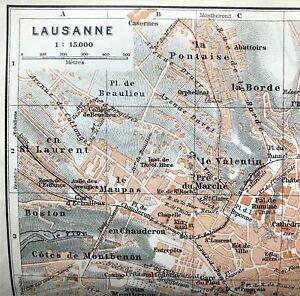 1909 BAEDEKER ANTIQUE COLOR MAP ~ LAUSANNE, SWITZERLAND ~ STREETS DETAILED