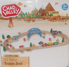Wooden Train Set Toy 60 PIECE Compatible With Leading Brands