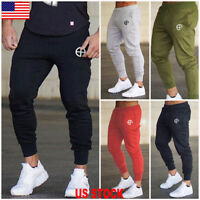 US Men Slim Fit Jogger Sports Gym Bodybuilding Running Track Trousers Sweatpants