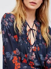 NWT $108 Free People 'So Fine' Printed Smocked Top in Navy Combo size SMALL