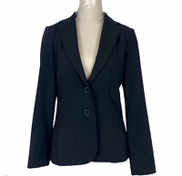 Basque City Womens Black 2 Button Fully Lined Corporate Jacket Size 8