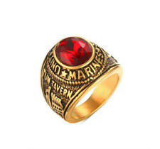 Vintage Mens Gold Plating Rhinestone Ring US Marines Anniversary Band Size Q-y 10