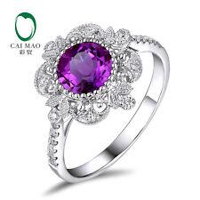14K White Gold Natural 1.03ct Purple Amethyst 0.17ct Full Cut Diamond Ring