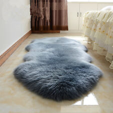 180x65cm Double Pelt Sheepskin Carpet Blue Gray Lambskin rug 6x 2'Two Pelts rug