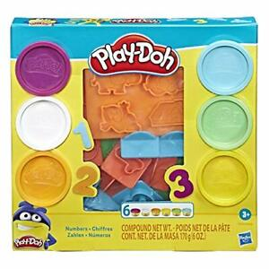 Hasbro Play-Doh Fundamentals 10 Numbers Shape Stamper Tools 6 Colors of Play Doh