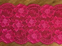 "laverslace Burgundy Red Claret Wide Floral Stretch Tulle Lace Trim 6.5/""//17cm"