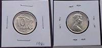 1981 Australian 10 Cents BU UNC Lyrebird Coin - Ex RAM Mint Roll - Gem (HE158)