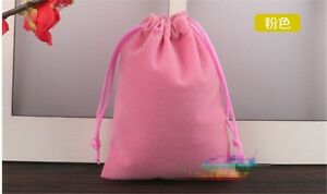 10 Flannel Fabric Solid Small Storage Drawstring Bag Jewelry Gift Pocket 5*7CM