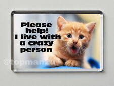 New, Funny Cat Fridge Magnet - PLEASE HELP! I LIVE WITH A CRAZY PERSON - cute