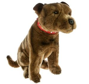 Staffordshire Bull Terrier Brown Brindle Plush Toy Dog 32cm Scooter by Bocchetta