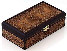 """Handmade Birch Bark Banknote Storage Box Wooden Paper Money Holder Case 7"""""""