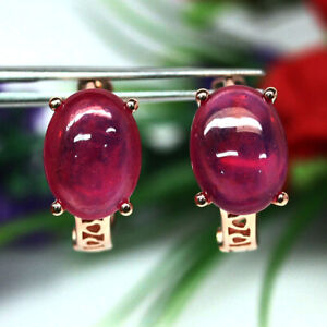 NATURAL 9 X 12mm. PINK RUBY EARRINGS 925 SILVER STERLING