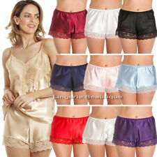 English Made Ladies Satin French Knickers with Lace. Many Colours Size 10 - 28