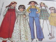 VTG 1977 GIRLS DRESS PINAFORE JUMPER SEWING PATTERN SZ 6 TOP RUFFLE