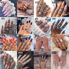 3-16Pcs/Set Bohemian Gemstone Midi Ring Women's Boho Caved Diamond Knuckle Rings