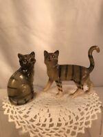 Vtg PAIR Pottery Art TIGER Striped Grey Tom Cat Kitten Miniature Figurine Set
