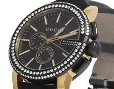 Mens Gucci G-Chrono Gold Black PVD S.Steel 44MM Diamond Watch YA101203 3.0 Ct