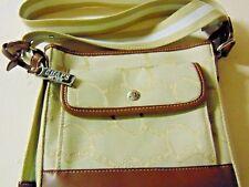 Chaps, Canvas & Vinyl, Beige, White & Brown Medium Sized Shoulder Handbag