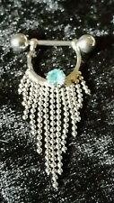 1  Silver blue stone & Tassel Pendant Nipple Sheild Ring Body Jewelry 16g