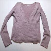 Zadig & Voltaire Purple Pink Knit V-Neck 100% Cashmere Sweater Size Medium A1304
