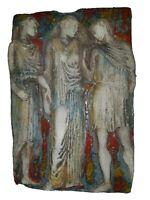 Bas relief terre cuite vernissé Art Déco scène à l'antique.