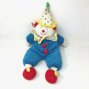 "Eden Clown Plush Blue Terry Cloth Polka Dot Hat Stuffed Doll 20"" Vintage"