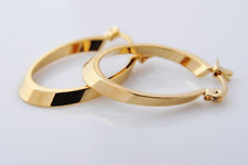 Earrings 9ct Gold Creole Oval Hoops 24 mm Holiday Gift Office Work School