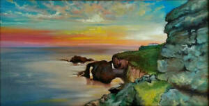 Lands End Limited Edition PRINT Of Original Oil Painting Cornwall Coast England