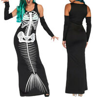 Gothic Fashion Women Halloween Cosplay Costume Skull Print O-Neck Long Dress